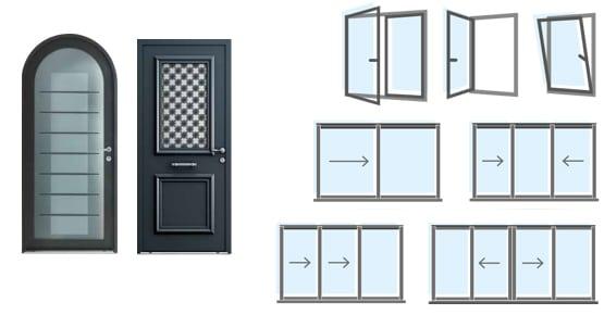 Modèles portes et fenêtres aluminium